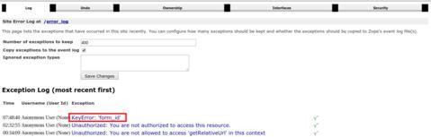 ERP5 | Open Source ERP - Screenshot ERP5 Exception Log