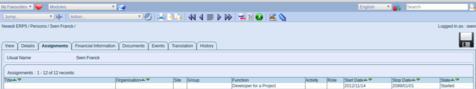 ERP5 | Open Source ERP - Screenshot ERP5 Person Module Assignments