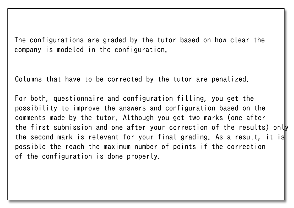 Grading of the Configurations