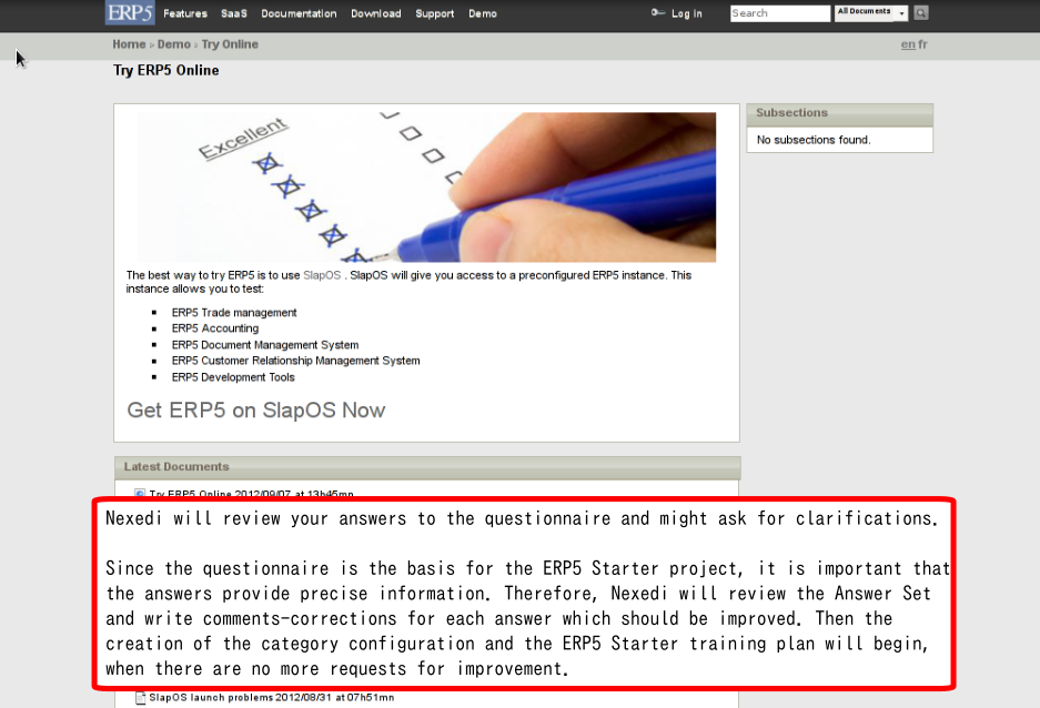 For ERP5 Starter Clients: Questionnaire Review