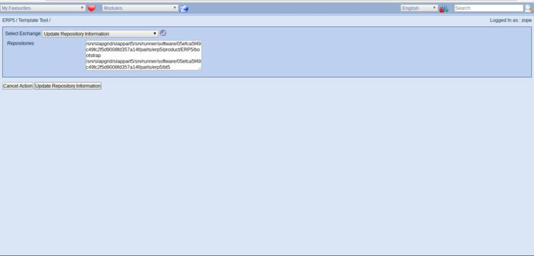 ERP5 Manage Business Templates   Update Repository Information