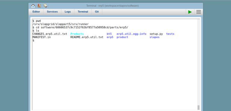 SlapOS Webrunner Terminal   Screenshot ERP5 Repository Directory