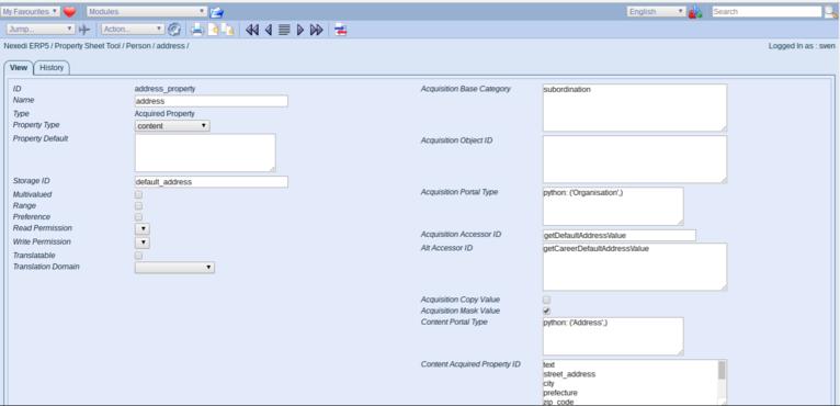 ERP5 Documentation   Screenshot Person Module Propery Sheet, Adress Property