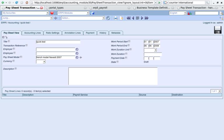ERP5 Screenshot Paysheet Transaction View