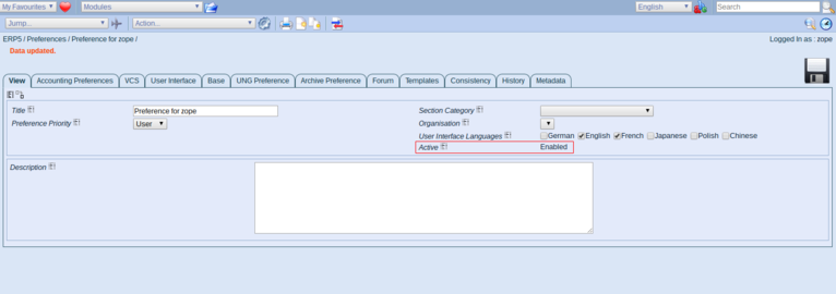 ERP5   Open Source ERP - Screenshot Preferences Active Preference