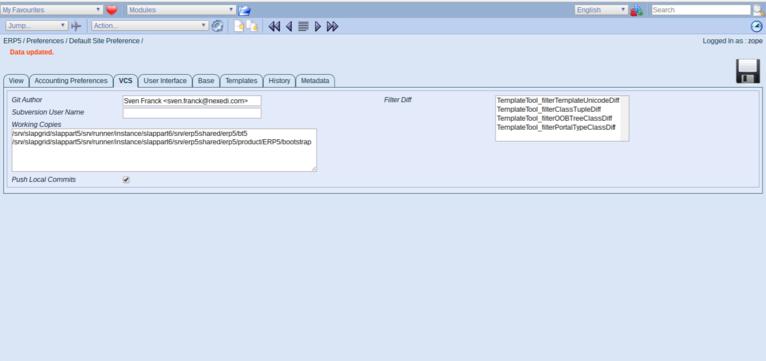 ERP5   Open Source ERP - Screenshot Preferences VCS Working Copies