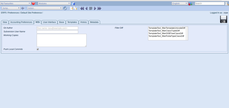 ERP5   Open Source ERP - Preferences VCS tab