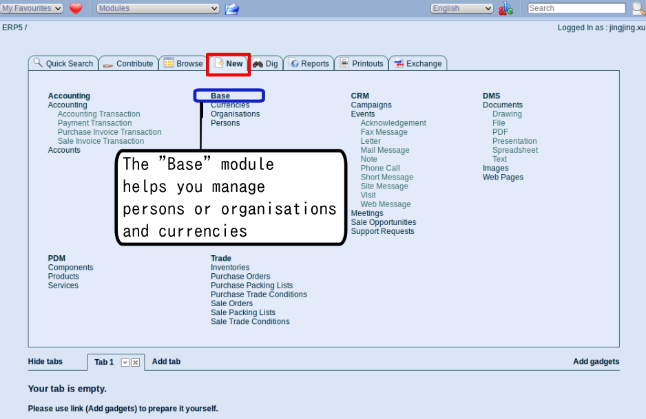 Add organisation: Click on the 'New' tab