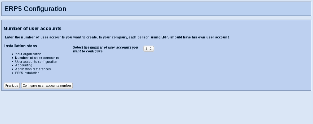 User Number Configuration Form