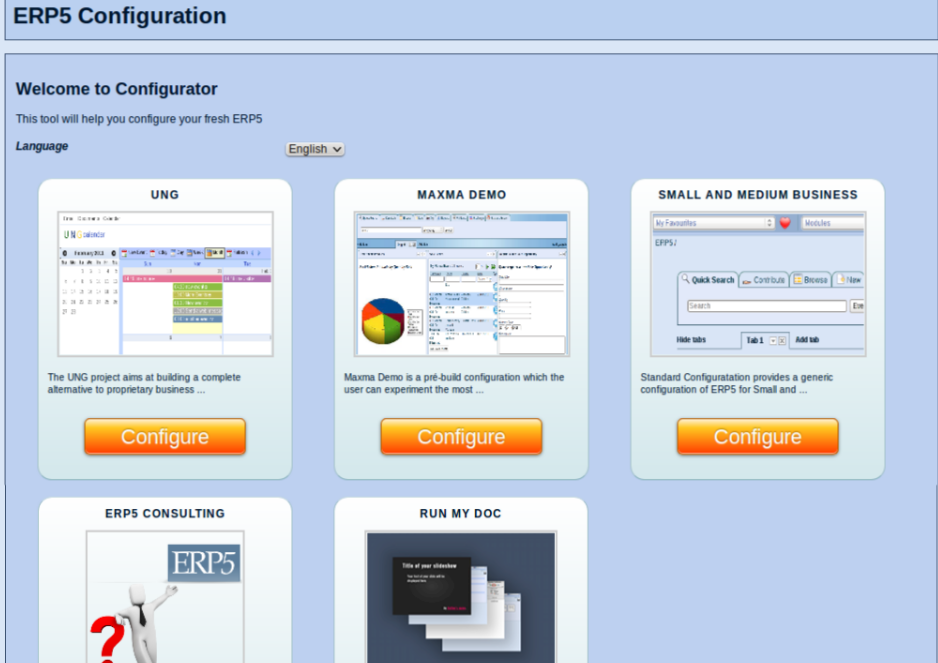 Configurator Initial Page