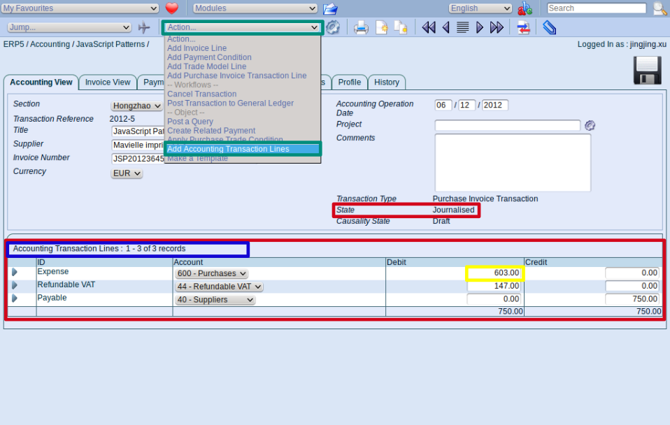 Check Accounting Transaction Lines