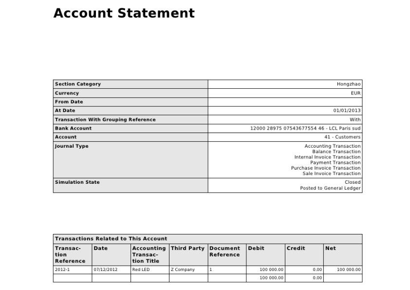 Account Statement example