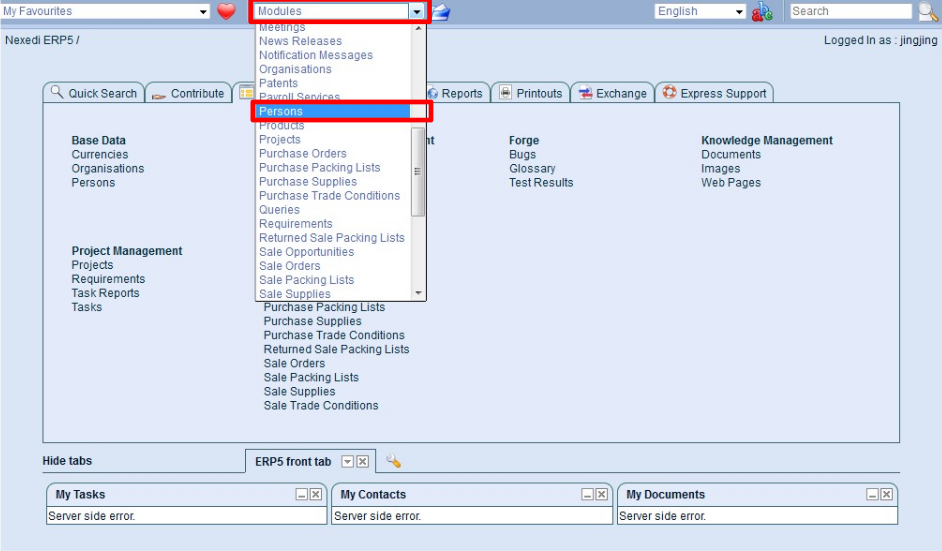 Open the ERP5 Modules list to reach the person's page
