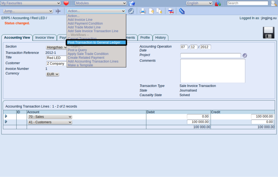 Post Transaction To General Ledger