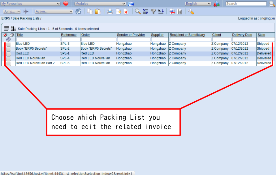Sale Packing List Module