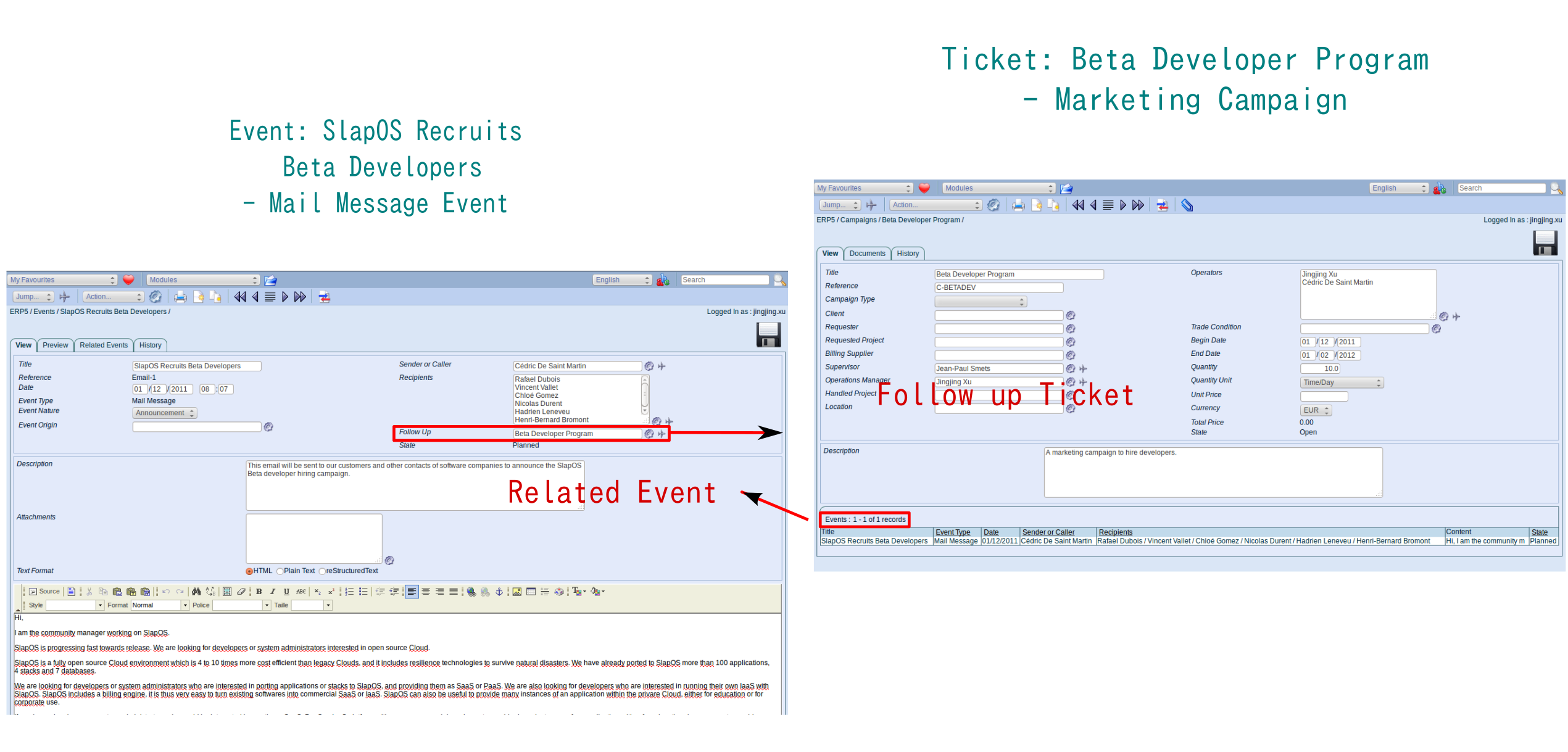 Example: Create the Event - Mail message from the Ticke - Beta Developer Program